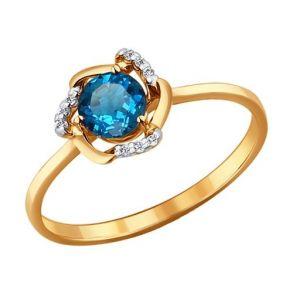 Кольцо из золота с топазом и фианитами 714079 SOKOLOV