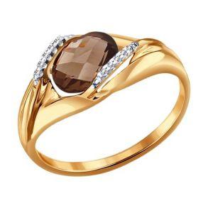 Кольцо из золота с раухтопазом и фианитами 714064 SOKOLOV