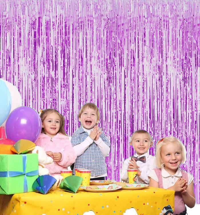 Новогодний Дождик Штора, 2 М Х 1 М, Цвет Фиолетовый