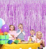Новогодний дождик Штора, 2 м х 1 м, цвет фиолетовый (1)