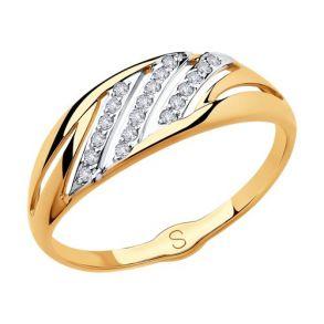 Кольцо из золота с фианитами 018113 SOKOLOV