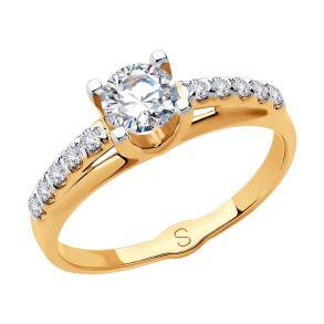 Кольцо из золота с фианитами 018296  SOKOLOV