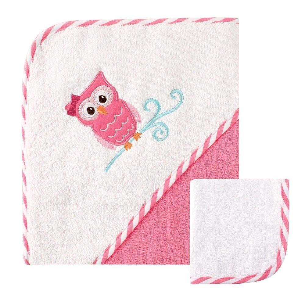 Комплект полотенце с капюшоном Сова и салфетка для купания Luvable Friends 05241