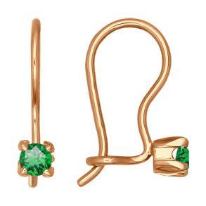 Серьги из золота с зелеными фианитами 021939 SOKOLOV