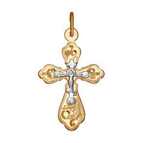 Крест из комбинированного золота с гравировкой 121216 SOKOLOV