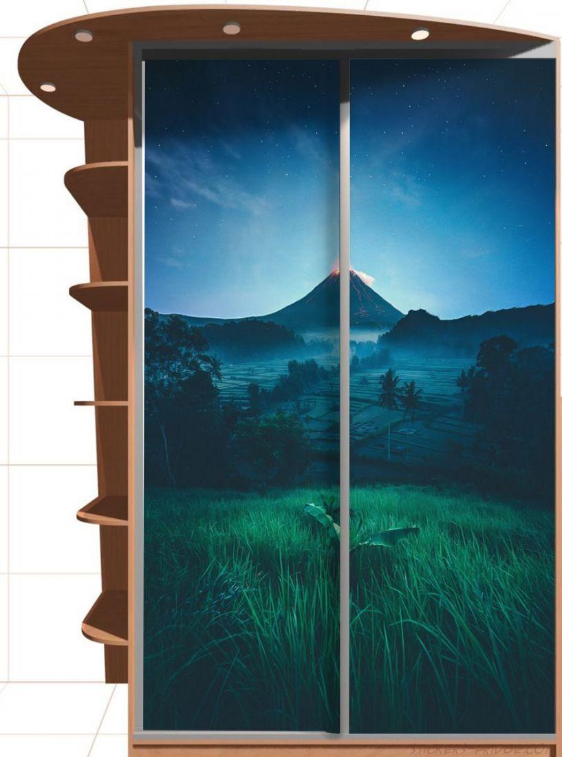 Наклейка на шкаф - Подножие вулкана