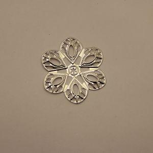 """Декоративный элемент """"филигрань"""" цветок 60 мм, цвет серебро (1уп = 50шт)"""