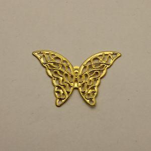 """Декоративный элемент """"филигрань"""" бабочка 42*28 мм, цвет золото (1уп = 50шт)"""