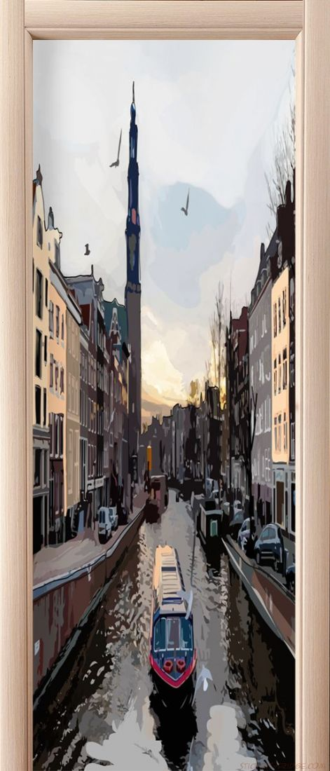 Наклейка на дверь - Прогулки по Амстел