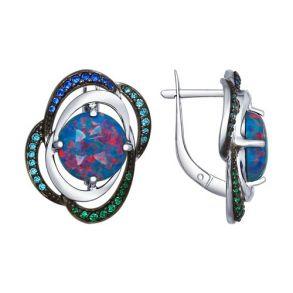 Серьги из серебра с синими опалами и зелеными и синими фианитами 83020042 SOKOLOV