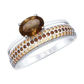 Кольцо из серебра с раухтопазом и фианитами 92011616 SOKOLOV