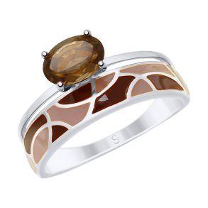 Кольцо из серебра с эмалью и раухтопазом 92011621 SOKOLOV
