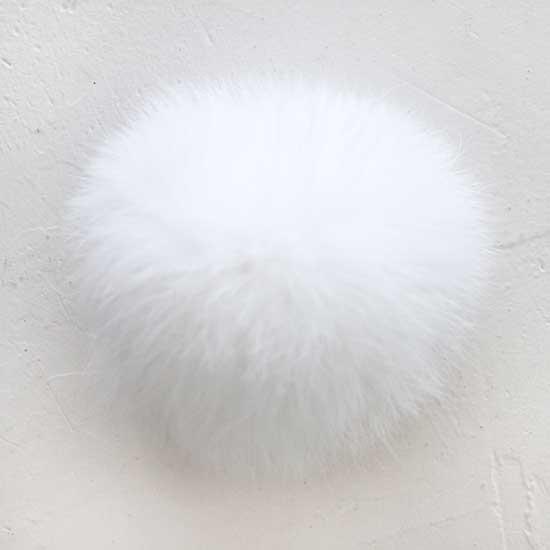 Меховой помпон Белый, 7 см (натуральный)