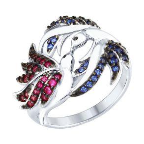 Кольцо из серебра с красными и синими фианитами 94012368 SOKOLOV