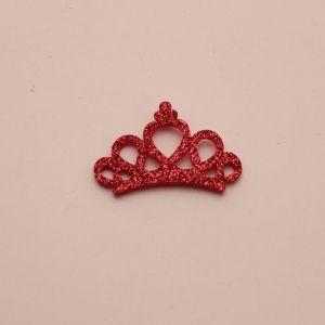 """Патч """"Корона с блестками"""", 46*31 мм, цвет  розовый (1уп = 25шт)"""