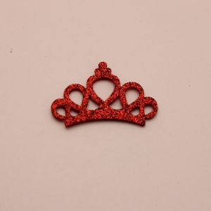 """`Патч """"Корона с блестками"""", 46*31 мм, цвет  красный (1уп = 5шт)"""