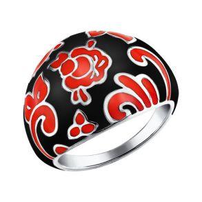 Широкое кольцо стилизованное под Хохломскую роспись 94011114 SOKOLOV