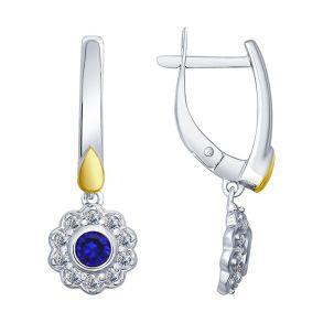 Серьги из серебра с синими корундами (синт.) и фианитами 88020041 SOKOLOV
