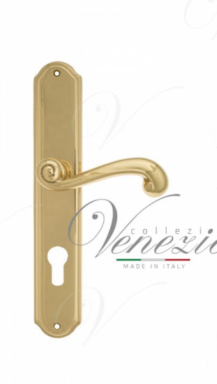 Дверная ручка Venezia Carnevale CYL на планке PL02 полированная латунь