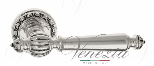 Дверная ручка Venezia PELLESTRINA D2 натуральное серебро + черный
