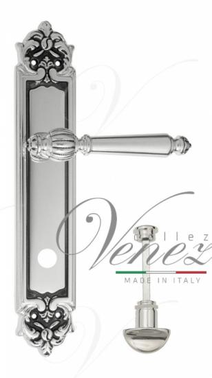 Дверная ручка Venezia PELLESTRINA WC-2 на планке PL96 натуральное серебро + черный