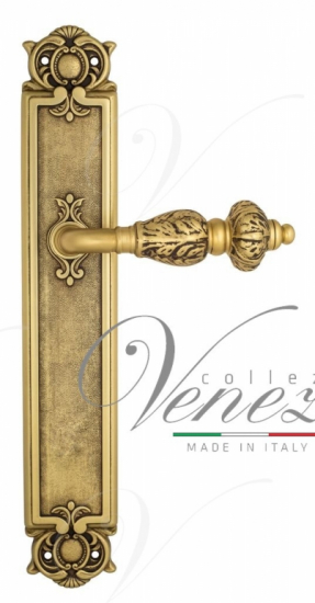 """Дверная ручка Venezia """"LUCRECIA"""" на планке PL97 французское золото + коричневый"""