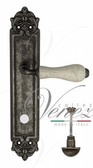 "Дверная ручка Venezia ""COLOSSEO"" белая керамика паутинка WC-2 на планке PL96 античное серебро"