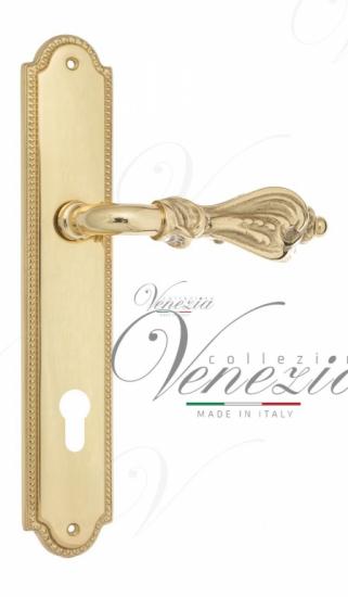 """Дверная ручка Venezia """"FLORENCE"""" CYL на планке PL98 полированная латунь"""