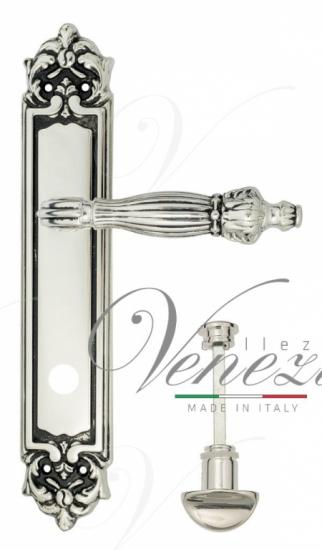 """Дверная ручка Venezia """"OLIMPO"""" WC-2 на планке PL96 натуральное серебро + черный"""