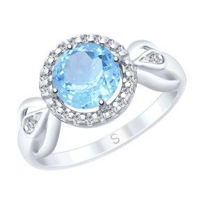 Кольцо из серебра с топазом и фианитами 92011673 SOKOLOV