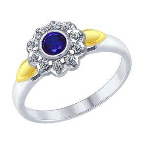 Кольцо из серебра с синим корундом (синт.) и фианитами 88010042 SOKOLOV