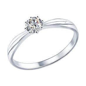 Помолвочное кольцо из серебра с фианитом 89010009 SOKOLOV