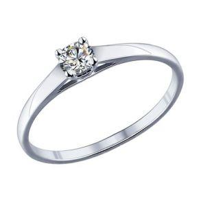 Помолвочное кольцо из серебра с фианитом 89010021 SOKOLOV
