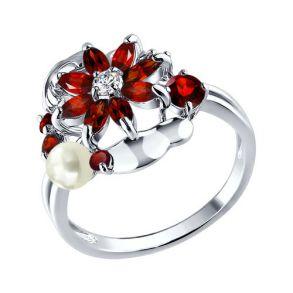 Кольцо из серебра с миксом камней 92010134 SOKOLOV