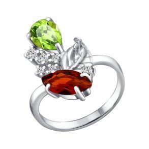 Кольцо из серебра с миксом камней 92010309 SOKOLOV