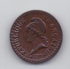 """1 сантим 1797 года L""""AN 6  AUNC Франция"""