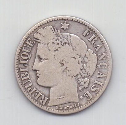 2 франка 1870 года Франция