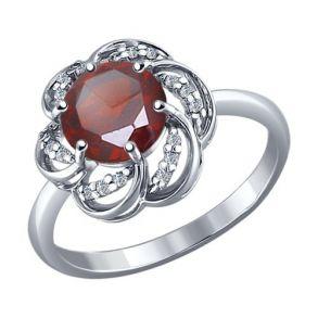 Кольцо из серебра с гранатом и фианитами 92010506 SOKOLOV