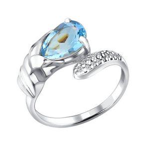 Кольцо из серебра с топазом и фианитами 92010540 SOKOLOV