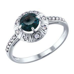 Кольцо из серебра с топазом и фианитами 92010793 SOKOLOV