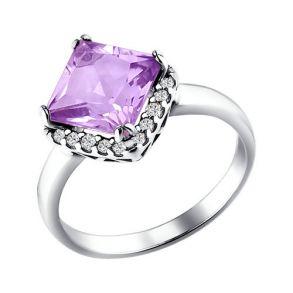 Кольцо из серебра с аметистом и фианитами 92010850 SOKOLOV