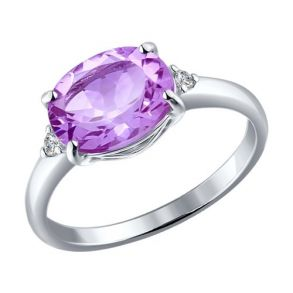 Серебряное кольцо с аметистом 92010973 SOKOLOV