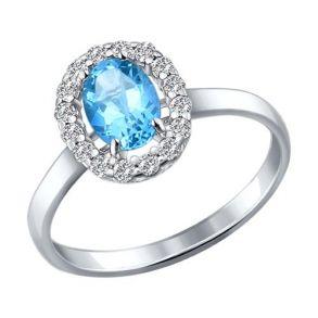 Кольцо из серебра с топазом и фианитами 92010982 SOKOLOV