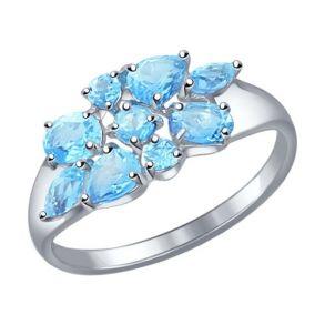 Кольцо из серебра с топазами 92011103 SOKOLOV