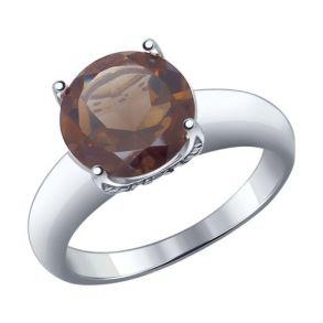 Кольцо из серебра с раухтопазом и фианитами 92011188 SOKOLOV