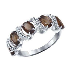 Кольцо из серебра с раухтопазами и фианитами 92011201 SOKOLOV