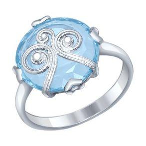 Кольцо из серебра с ситаллом и сканью 92011226 SOKOLOV