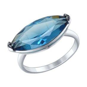 Кольцо из серебра с синим ситаллом 92011294 SOKOLOV