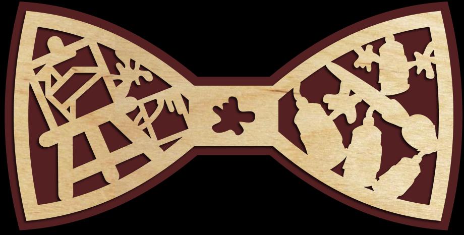 Деревянный галстук-бабочка для художника