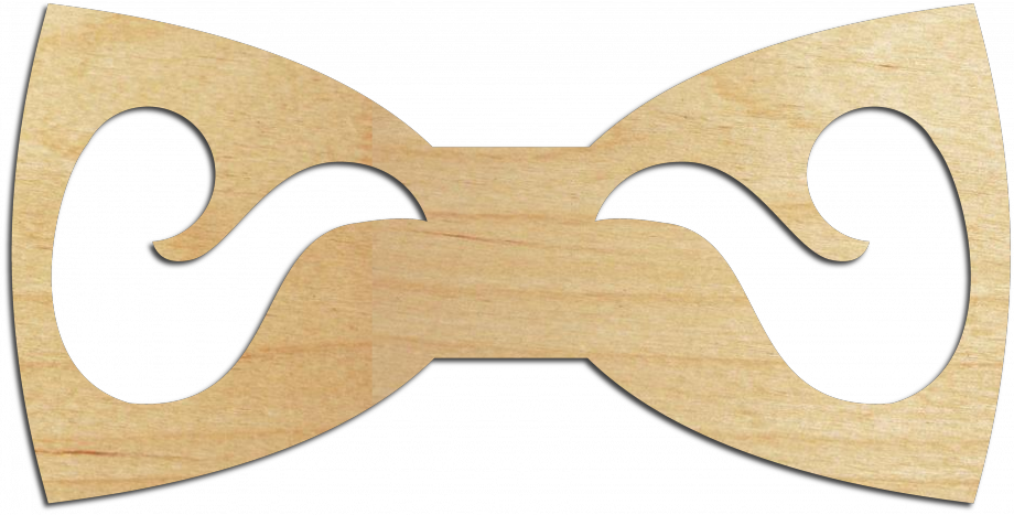 Деревянный галстук-бабочка с усами